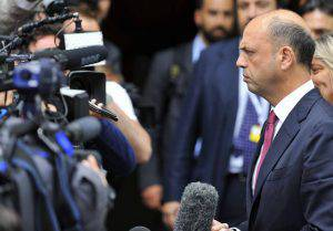 Italian Interior minister and leader of the New Centre-Right party Angelino Alfano answers journalists' questions as he arrives to attend a European Popular Parties (EPP) meeting in Brussels on July 12, 2015. The EU cancelled a full 28-nation summit on July 12 to decide whether Greece stays in the European single currency as a divided eurozone struggled to reach a reform-for-bailout deal. The summit had been billed as a last chance to stop Greece crashing out, but was scrapped as eurozone finance ministers returned Sunday to marathon talks after failing overnight to overcome distrust with Greece's leftist government. AFP PHOTO / JEAN-CHRISTOPHE VERHAEGEN (Photo credit should read JEAN-CHRISTOPHE VERHAEGEN/AFP/Getty Images)