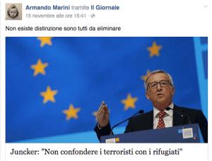 Uno dei post di Armando Marini (screenshot Facebook)