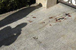 BAGHDAD, IRAQ - DECEMBER 5: Blood is seen in front of the house of French engineer Bernard Planche who was kidnapped by unknown gunmen as he was getting into a car outside his house in the high-scale district of Mansour December 5, 2005 in Baghdad, Iraq.  (Photo by Akram Saleh /Getty Images)