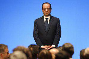 French President Francois Hollande gives a speech as he attends the gala openning at the new Paris Philharmonie concert hall in Paris on January 14, 2015. The Philharmonie, a multi-level concert complex whose main hall seats 2,400 on sweeping balconies surrounding the centre stage, took eight years and 386 million euros ($455 million) of public money to build -- a budget three times its initial estimate. AFP PHOTO / POOL / CHARLES PLATIAU (Photo credit should read CHARLES PLATIAU/AFP/Getty Images)