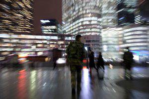A French soldier patrols at Paris La Defense business district on November 24, 2015 as part of security measures set following November 13 Paris' terror attacks. AFP PHOTO / KENZO TRIBOUILLARD / AFP / KENZO TRIBOUILLARD (Photo credit should read KENZO TRIBOUILLARD/AFP/Getty Images)