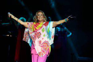 GIRONA, SPAIN - AUGUST 05:  Romina Power performs on stage her last show 'AL BANO in concert- special guest ROMINA POWER' during the Festival Castell Peralada on August 5, 2014 in Peralada, Girona, Spain.  (Photo by Miquel Benitez/Getty Images)