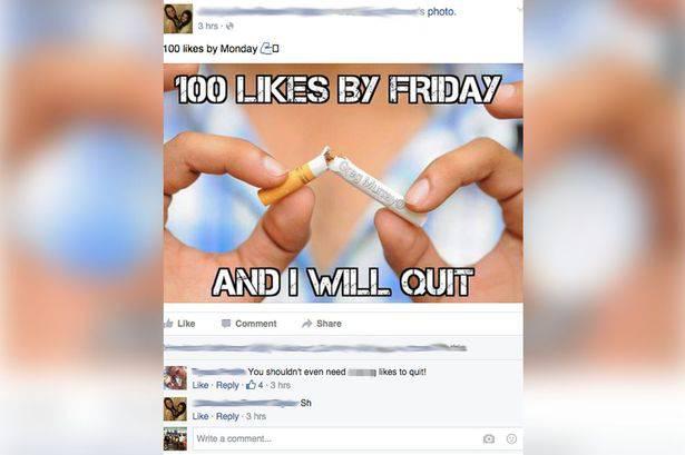 """""""100 like e smetto di fumare"""" fonte Daily Mail"""