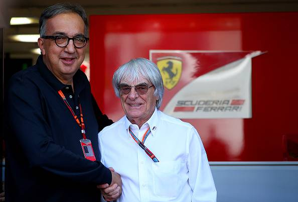 Sergio Marchionne e Bernie Ecclestone (Photo by Bryn Lennon/Getty Images)