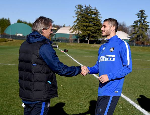 Mancini-Icardi (Photo by Claudio Villa - Inter/Inter via Getty Images)