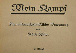 """BERLIN, GERMANY - DECEMBER 15:  A 1927 edition of Adolf Hitler's """"Mein Kampf"""" (""""My Struggle""""), volume two, lies at the library of the Deutsches Historisches Museum (German Historical Museum) on December 15, 2015 in Berlin, Germany. The state of Bavaria took possession of the copyright to the book after World War II, though the copyright is due to expire and the book will enter the public domain on January 1, 2016. Germany will continue to heavily restrict publication of the book in Germany though it will have little control over publications abroad. Hitler wrote the book that is both an autobiography and also presents his political vision while he was a prisoner in Germany in he 1920s.  (Photo by Sean Gallup/Getty Images)"""