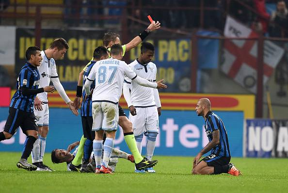 L'espulsione di Felipe Melo (Photo by Claudio Villa - Inter/Inter via Getty Images)
