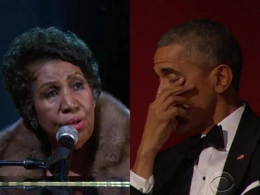 Aretha Franklin canta e commuove Obama