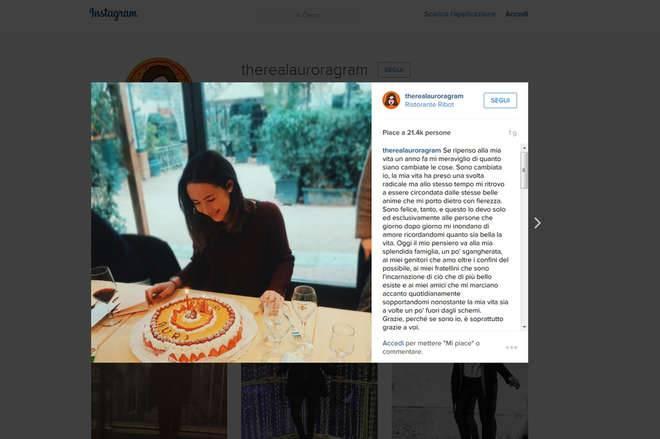 Il post di Aurora Ramazzotti fonte Instagram