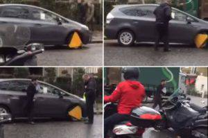 Minicab tries to drive off with clamp on wheel