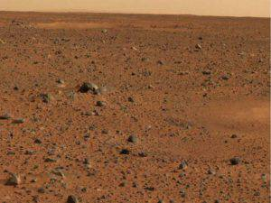 MARS - JANUARY 6: In this handout released by NASA, a portion of the first color image of Mars that was taken by the panoramic camera on the Mars Exploration Rover Spirit is seen January 6, 2003. The rover landed on Mars January 3 and sent it's first high resolution color image January 6. (Photo by NASA/Jet Propulsion Laboratory/ Cornell University via Getty Images)