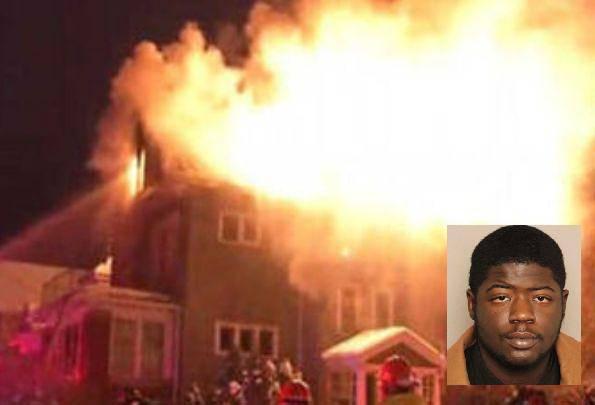 La casa in fiamme e nel riquadro Demetrio Johnson (websource)