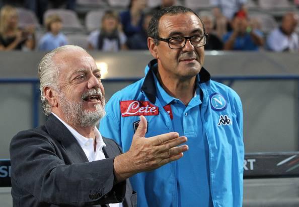 Aurelio De Laurentiis e Maurizio Sarri (Photo by Marco Luzzani/Getty Images)