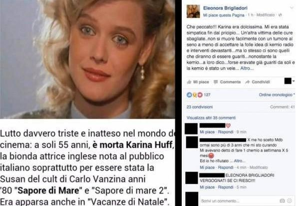 Il post di Eleonora Brigliadori (Facebook)