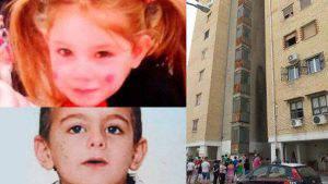 Le due piccole vittime e il palazzo dal quale sarebbero state gettate (web)