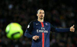 Paris Saint-Germain's Swedish forward Zlatan Ibrahimovic gestures during the French L1 football match between Paris Saint-Germain and Rennes at the Parc des Princes stadium in Paris on April 30, 2016.  / AFP / FRANCK FIFE        (Photo credit should read FRANCK FIFE/AFP/Getty Images)