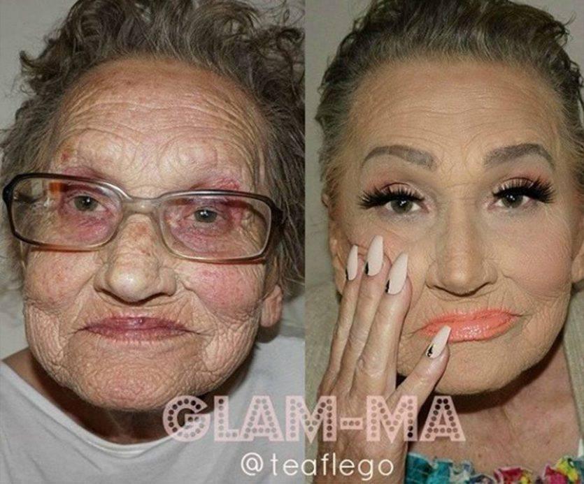 Lanonna prima e dopo il make up fonte youtube