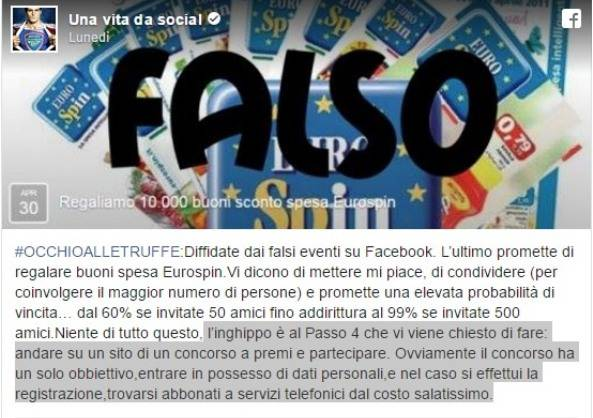 Truffa Eurospin (Facebook/Una vita da social)