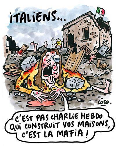 Charlie Hebdo rincara la dose contro gli italiani terremotati