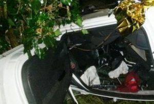 I resti dell'auto (foto Vigili del fuoco)
