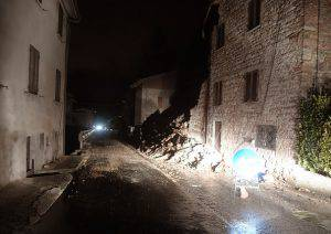 A picture shows rubbles in the village of Borgo Sant'Antonio near Visso, central Italy, after earthquakes on October 26, 2016. Twin earthquakes rocked central Italy on October 26, 2016 -- the second registering at a magnitude of 6.0 -- in the same region struck in August by a devastating tremor that killed nearly 300 people. The quakes were felt in the capital Rome, sending residents running out of their houses and into the streets. The second was felt as far away as Venice in the far north, and Naples, south of the capital. / AFP / TIZIANA FABI        (Photo credit should read TIZIANA FABI/AFP/Getty Images)