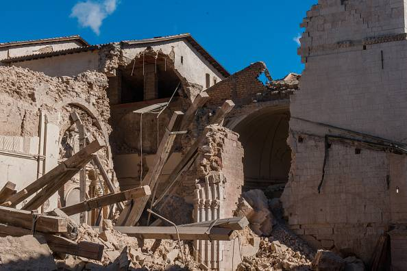 PERUGIA, ITALY - OCTOBER 31: A historic building of the city centre of Norcia was destroyed by the earthquake on October 31, 2016 in Perugia, Italy. A 6.6 magnitude earthquake struck central Italy in the Perugia area early on Sunday morning, devasting entire communities. No deaths have been reported so far. (Photo by Awakening/Getty Images)