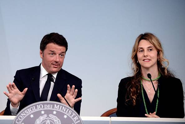 ROME, ITALY - JUNE 15: Italian Premier Matteo Renzi and  Minister Marianna Madia during a press conference at Palazzo Chigi after the Council of Ministers No. 120 speaking about the reform of public administration and  the dismissal and penalties for absentees,on June 15, 2016 in Rome, Italy. (Photo by Simona Granati/Corbis via Getty Images)