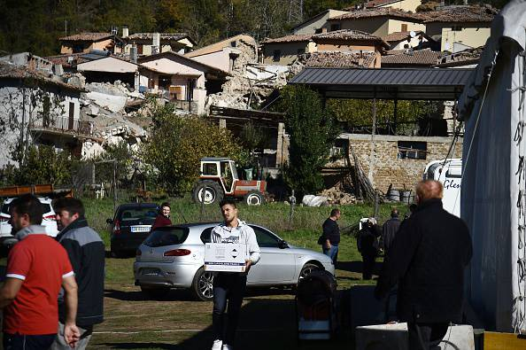 Le macerie del terremoto (FILIPPO MONTEFORTE/AFP/Getty Images)