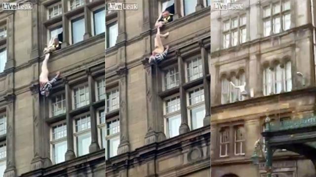 Tenuto per i pantaloni dalla finestra dell'hotel: la scena è incredibile – VIDEO
