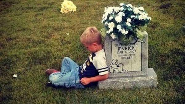 Si siede sulla tomba del gemello per raccontargli il primo giorno d'asilo