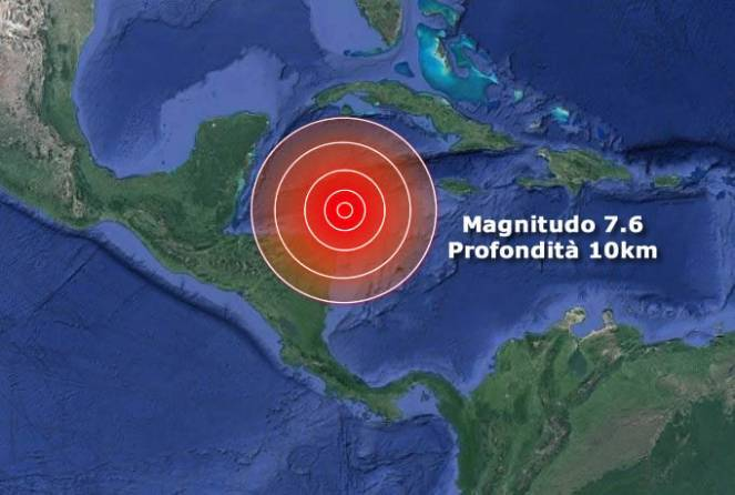 Scossa 7.6 di terremoto tra Cuba e Honduras. 30 volte superiore a Norcia