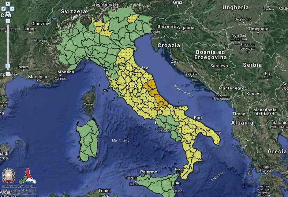 Protezione Civile: Allerta arancione per Marche e Abruzzo