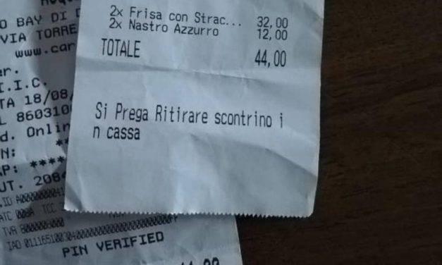 Salento, scontrino choc: 2 frise e 2 birre a 44 euro