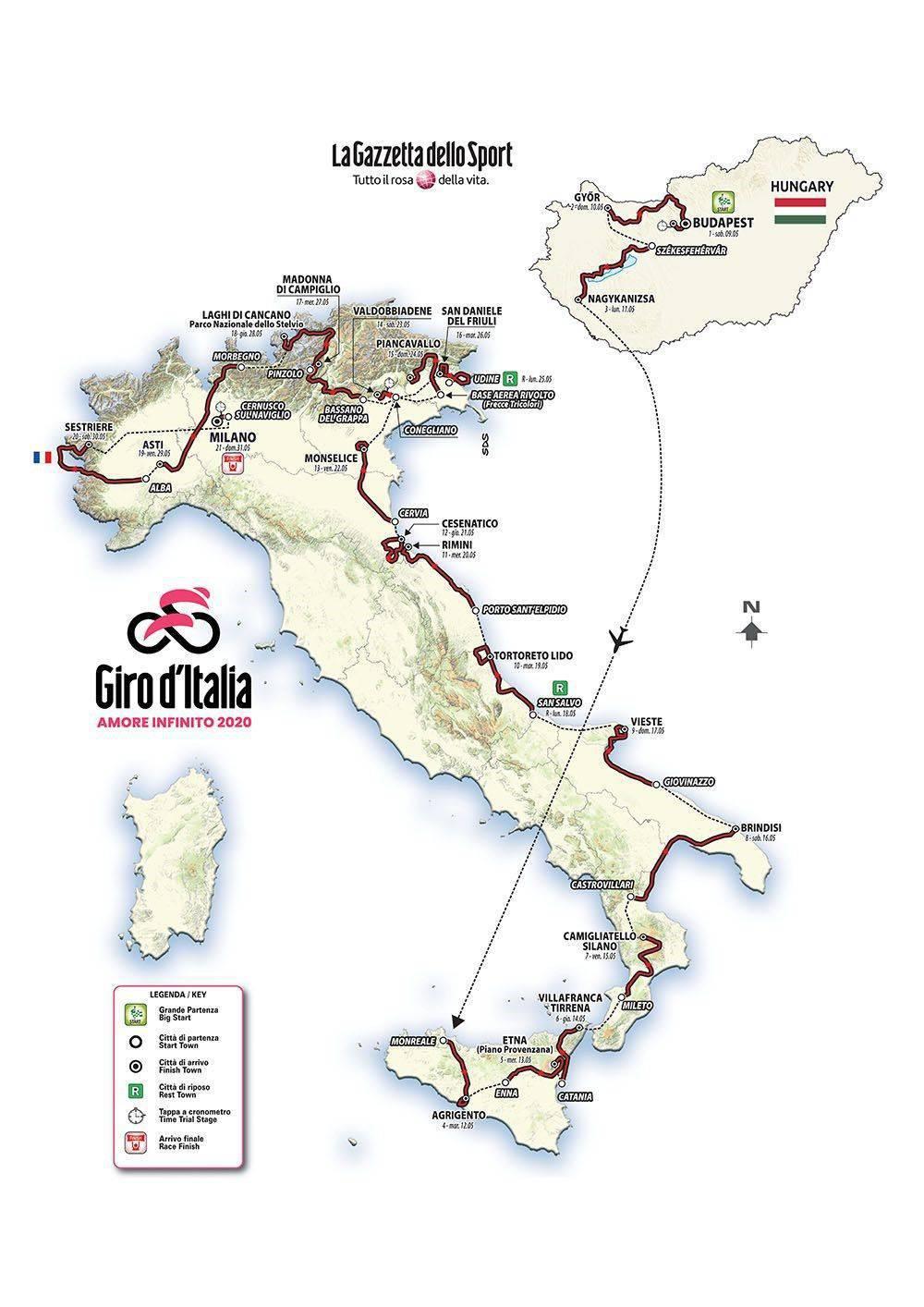 Il percorso del Giro dì'Italia 2020 da Budapest Milano