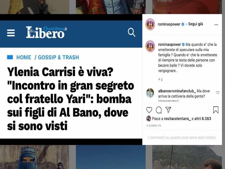 Screenshot Instagram Romina Power