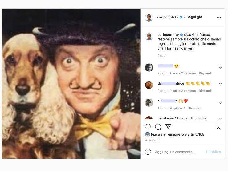 Il post Instagram di Carlo Conti