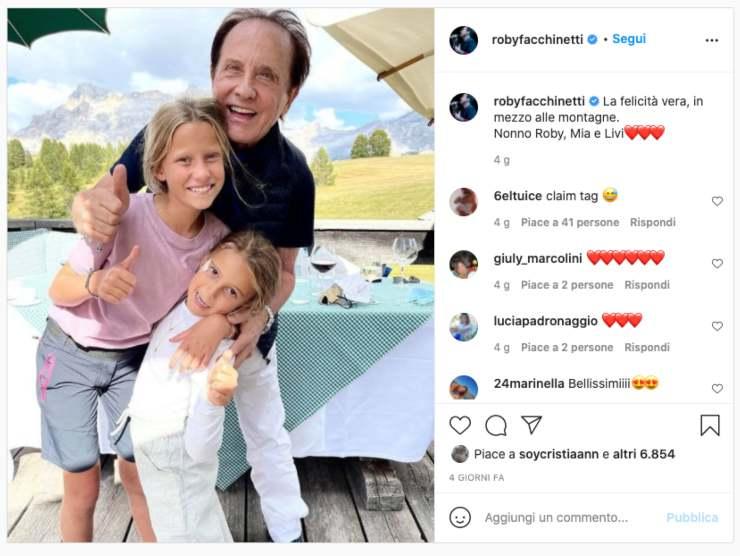 Schermata profilo Instagram di Roby Facchinetti (Instagram)
