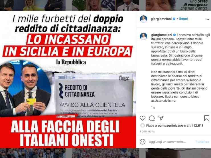 Schermata profilo Instagram di Giorgia Meloni (Instagram)
