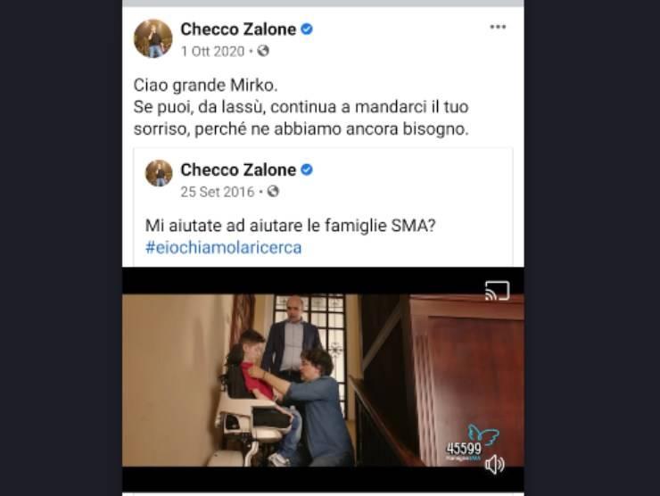 Schermata post Facebook di Checco Zalone (Facebook )