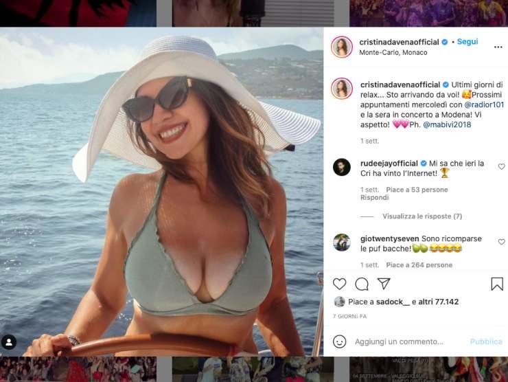 Schermata profilo Instagram di Cristina D'Avena (Instagram)