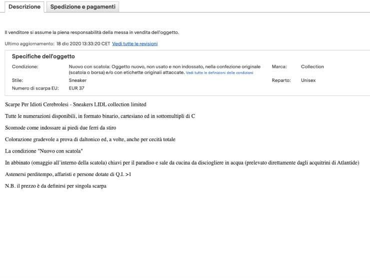 Schermata annuncio di vendita di Ebay (Ebay)