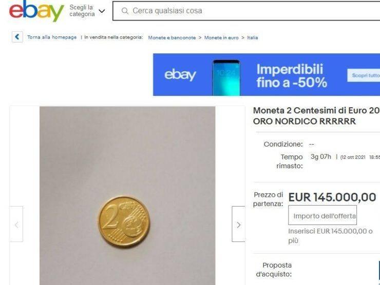 Moneta 2 centesimi annuncio Ebay