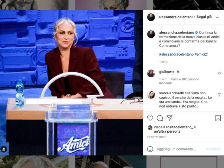 Schermata profilo Instagram di Alessandra Celentano (Instagram)