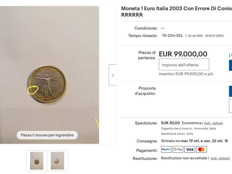 Schermata annuncio di vendita Ebay (Ebay)
