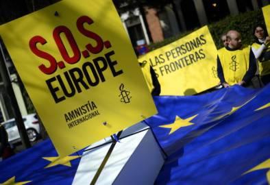 Presidio di Amnesty International al Consiglio Europeo (PIERRE-PHILIPPE MARCOU/AFP/Getty Images)