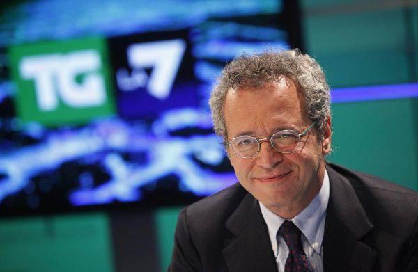 Enrico Mentana interrompe il Tg, incendio negli studi di La7
