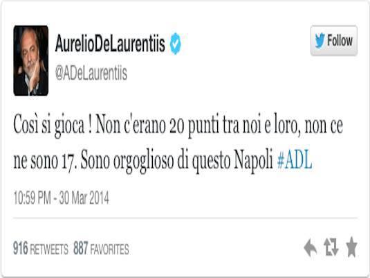 De Laurentis: Il twitter contro la Juventus e Ilaria d'Amico