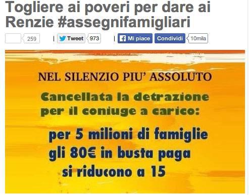 """Grillo contro """"Renzie"""": gli 80 euro in più in busta paga una balla"""