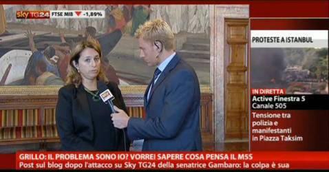 Adele Gambaro nei giorni della sua controversa espulsione (screenshot SkyTg24)