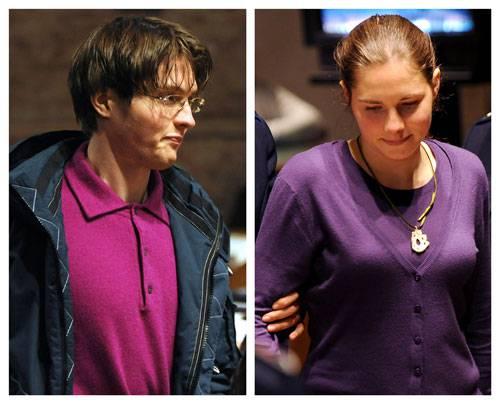 Amanda Knox e Raffaele Sollecito in lacrime dopo la decisione della Corte d'Appello di Perugia